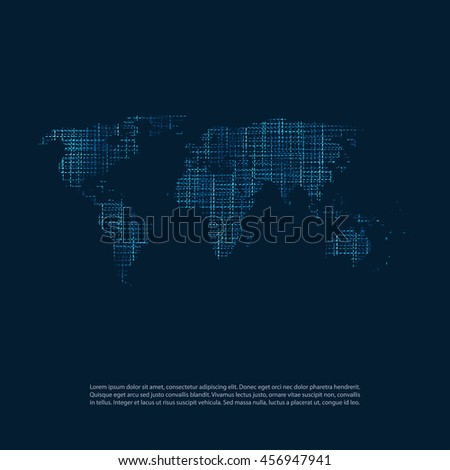 Cloud Computing and Networks Concept - Abstract World Map Background Design - stock vector