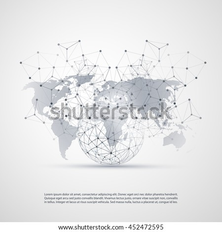 Cloud Computing and Networks Concept with World Map - Global Digital Network Connections, Technology Background, Creative Design Template with Transparent Geometric Grey Wire Mesh - stock vector