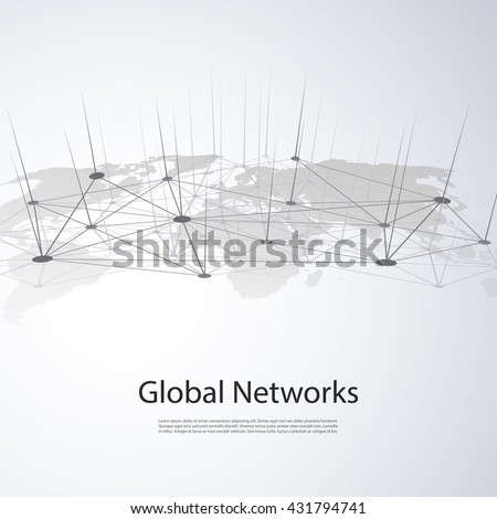 Cloud Computing and Networks - Global Digital Connections, Internet Concept Illustration - stock vector