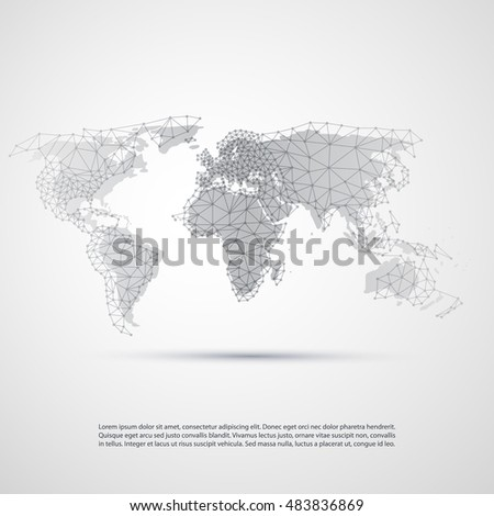 Cloud Computing and Networks, Technology Concept with World Map - Abstract Global Digital Network Connections, Creative Design Template with Wire Mesh