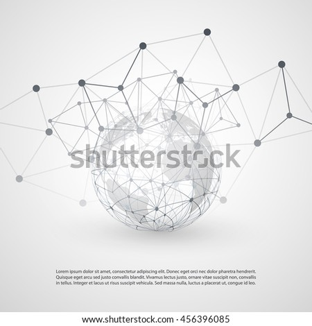 Cloud Computing and Networks with Earth Globe - Abstract Global Digital Network Connections, Technology Concept Background, Creative Design Element Template with Transparent Geometric Grey Wire Mesh