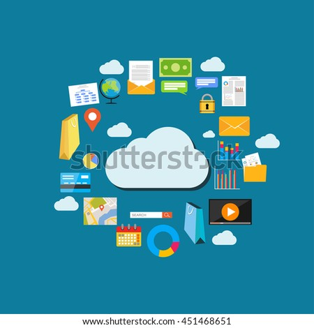 Cloud computing background. Data storage network technology. Multimedia content , web sites hosting. Internet content concept illustration. - stock vector