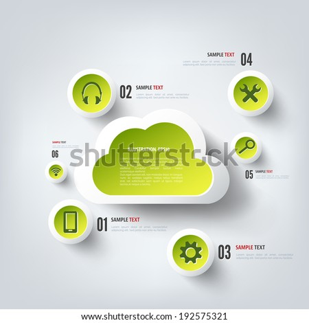 Cloud computing background with web icons. Social network. Mobile app. - stock vector