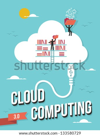 Cloud computing business concept retro illustration. Vector file layered for easy manipulation and custom coloring. - stock vector