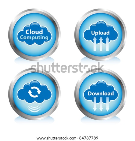 Cloud computing buttons. Cloud sync, upload, and download buttons. - stock vector