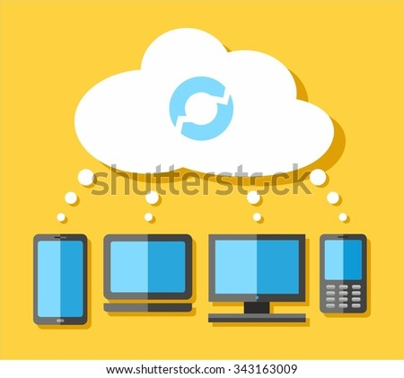 Cloud Computing.  Color flat illustration with the cloud, your computer and phone. Vector picture.