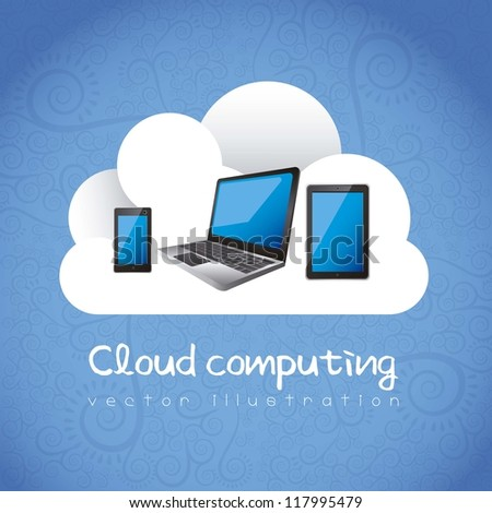 Cloud computing concept. A cloud with electronic equipment, vector illustration - stock vector