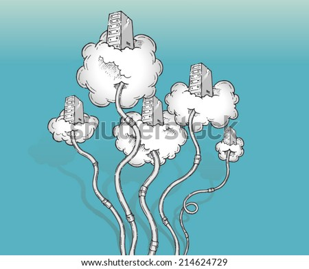 Cloud computing concept. A group of servers floating on real clouds. Hand drawn isolated vector sketch on blue background. - stock vector