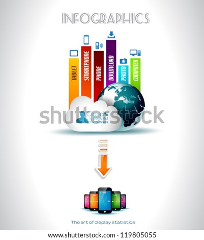 Cloud Computing concept background with a lot of icons: tablet, smartphone, computer, desktop, monitor, music, downloads and so on - stock vector