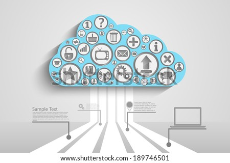 Cloud Computing concept background with icons: lock, gears, reitings, basket, bubbles, mail, downloads, social network group, infographic background - stock vector