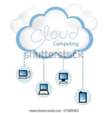 "Cloud computing concept. Client computers communicating with resources located in the ""cloud"" - stock vector"