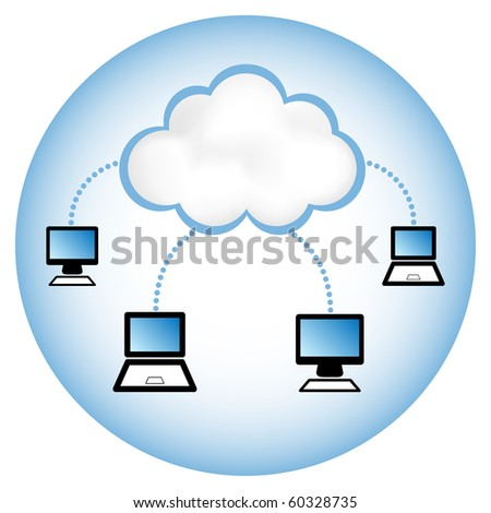 """Cloud computing concept. Client computers communicating with resources located in the """"cloud"""". - stock vector"""