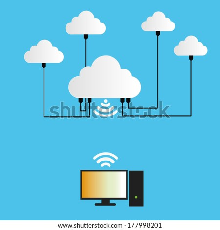 Cloud Computing Concept connect to computer