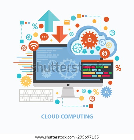 Cloud computing concept design on white background,clean vector - stock vector