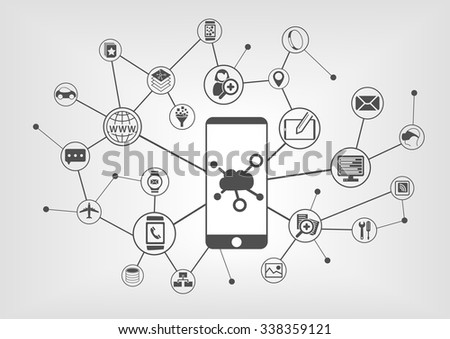 Cloud computing concept for connected mobile devices. Vector icons on grey background - stock vector