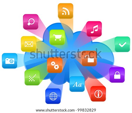 Cloud computing concept: group of colorful application icons and blue cloud isolated on white background - stock vector