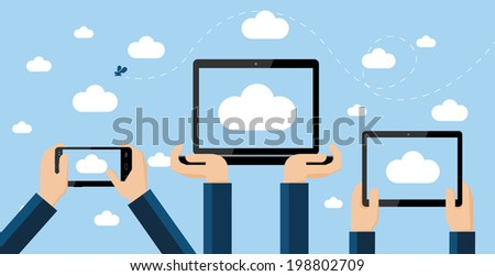 Cloud computing concept. Hands holding smartphone, computer laptop and tablet with cloud image on screen high against the sky. - stock vector