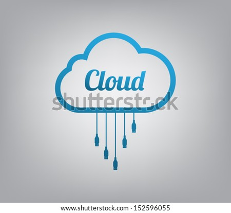 Cloud computing concept icon for websites or business design - stock vector