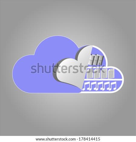 Cloud computing concept illustrates the cloud drive contents  - stock vector