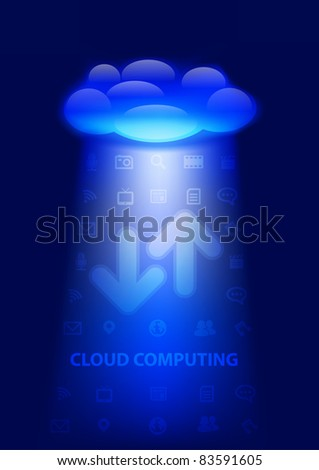 Cloud computing concept illustration. Layered conceptual vector illustration. - stock vector