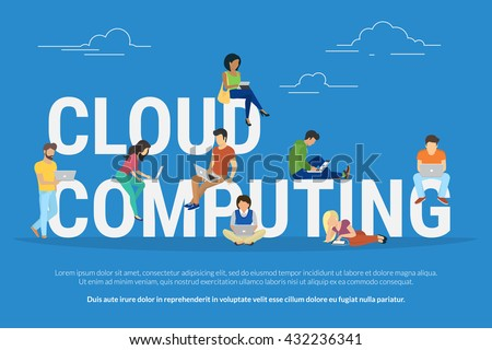 Cloud computing concept illustration of young various people using mobile gadgets such as tablet pc and smartphone for working in cloud storage. Flat design of guys and women standing near big letters - stock vector