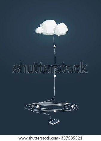 Cloud computing concept illustration with low poly clouds and smartphone connected. Data storage infrastructure. Eps10 vector illustration.  - stock vector