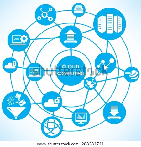 cloud computing concept info graphic network with blue theme - stock vector