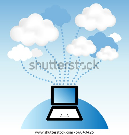 """Cloud computing concept. Laptop computer communicating with resources located in the """"cloud"""". - stock vector"""