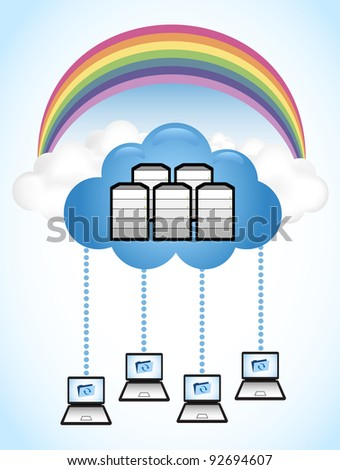 "Cloud computing concept. Laptop computers accessing data from the ""Cloud""."