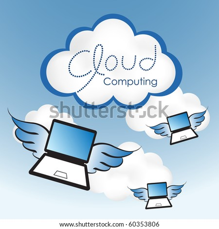 "Cloud computing concept. Laptop computers with wings flying toward the ""cloud""."