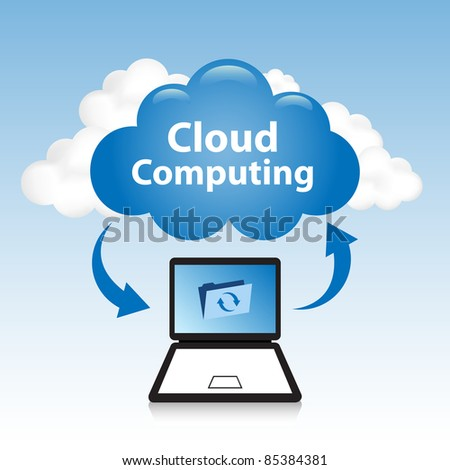 "Cloud computing concept. Laptop synchronizing data located in the ""cloud"" - stock vector"
