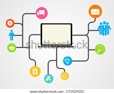 Cloud Computing Concept on Different Electronic Devices. Vector Illustratio