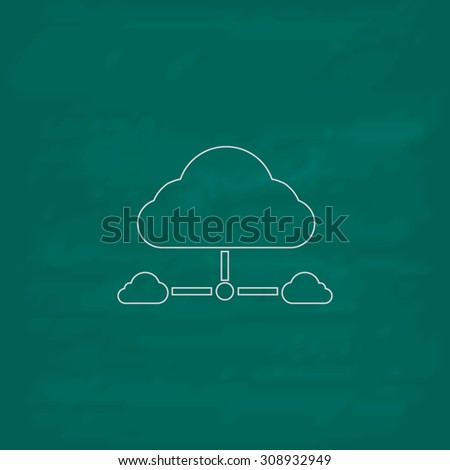Cloud computing concept. Outline vector icon. Imitation draw with white chalk on green chalkboard. Flat Pictogram and School board background. Illustration symbol - stock vector