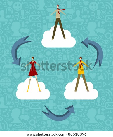 Cloud computing concept people on a blue background with social media icons. Vector file available. - stock vector