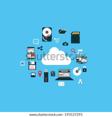 Cloud computing concept technology infographics with icons and devices in modern flat design. Eps10 vector illustration. - stock vector