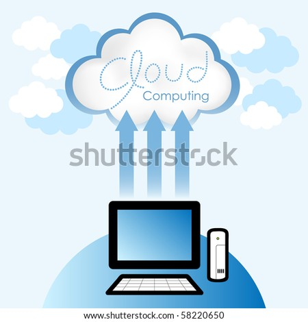 """Cloud computing concept. Thin client computer accessing resources located in the """"cloud"""". - stock vector"""