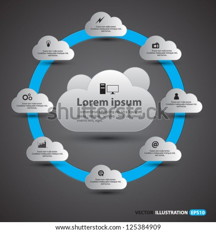 Cloud computing concept vector / cloud group / circle loop cloud - stock vector