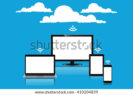 Cloud computing concept, vector illustration - stock vector