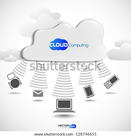 Cloud computing concept. Vector illustration. Eps 10. - stock vector