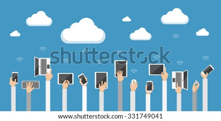 Cloud computing concept. Vector illustration Flat design illustration of hands holding various devices connecting to the cloud  - stock vector