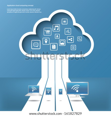 Cloud computing concept vector illustration with applications icons and devices. Eps10 vector illustration - stock vector