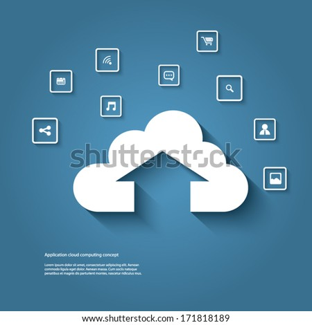 Cloud computing concept vector illustration with cloud upload icon and devices. Eps10 vector illustration - stock vector
