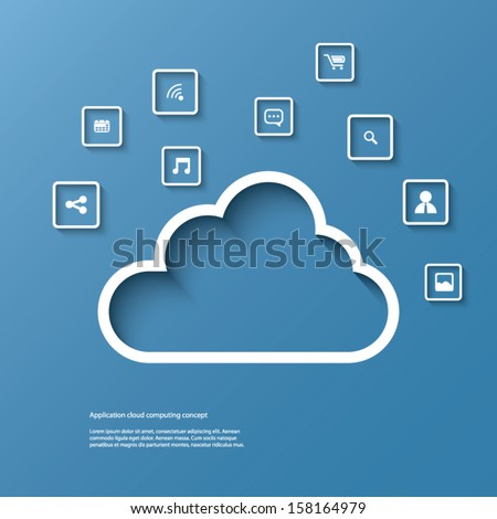 Cloud computing concept vector illustration with space for text suitable for presentations, infographics, brochures, etc. - stock vector