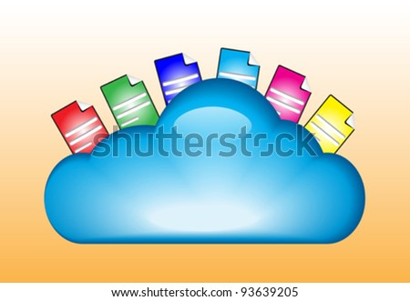 Cloud computing concept with documents in the cloud - stock vector