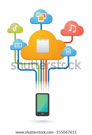 Cloud computing concept with e-commerce related icons - stock vector
