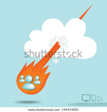 Cloud computing concept with liked a meteorite falling fast data transmission, idea for person social network - stock vector