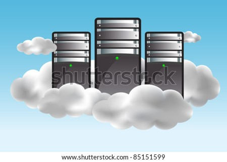 Cloud computing concept with servers in the clouds. Vector illustration - stock vector