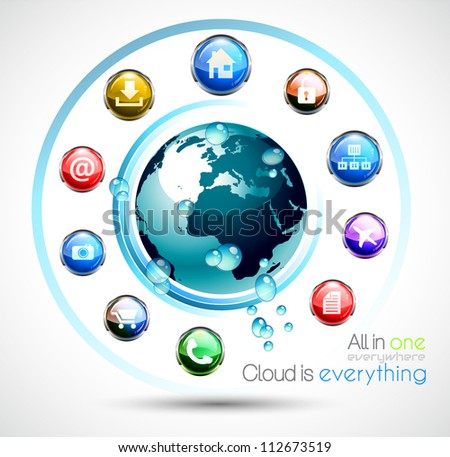 Cloud Computing conceptual image poster with a lot of themed icons like network, camera, home, downloads, files and so on. Ideal for technology abstract covers. - stock vector