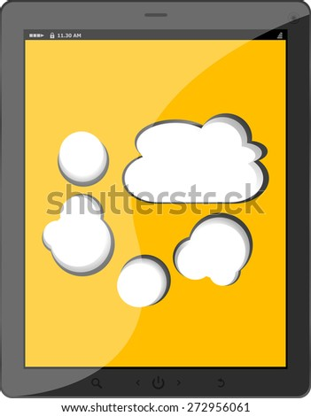 Cloud-computing connection on the digital tablet pc. Conceptual image. Isolated on white vector - stock vector
