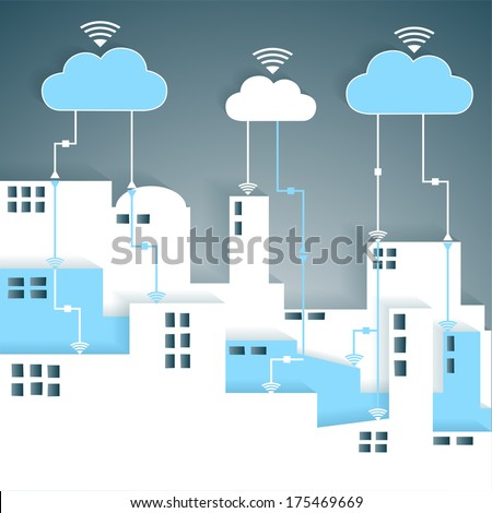 Cloud Computing Connectivity Paper Cutout City Network - Wifi Internet Connectivity concept, EPS10 Grouped and Layered  - stock vector